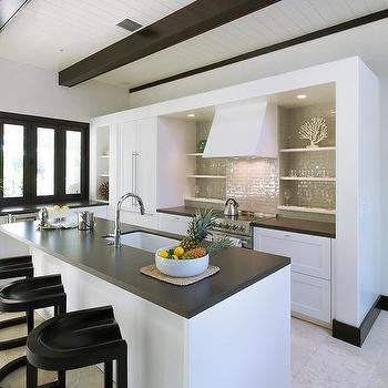 Contemporary Beach Kitchen With Gray Tile Backsplash