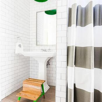 Alyssa Rosenheck: Boy Bathroom With Green Striped Shower Curtain