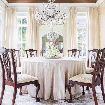 Alyssa Rosenheck French Dining Room With Wood Concentric Ceiling
