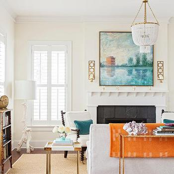 Charmant White And Blue Living Room With Orange Accents
