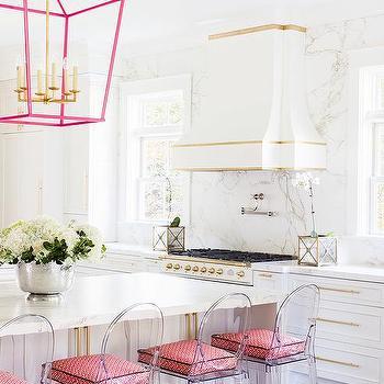 Alyssa Rosenheck White And Pink Kitchen With See Through