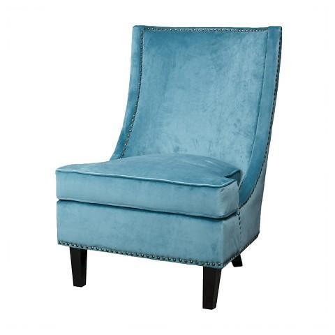 Blue Velvet Nailhead Trim Accent Chair
