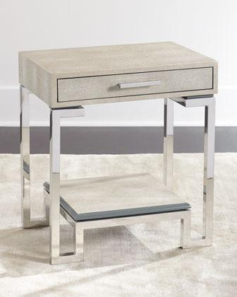 Ivory One Drawer Nickel Base End Table