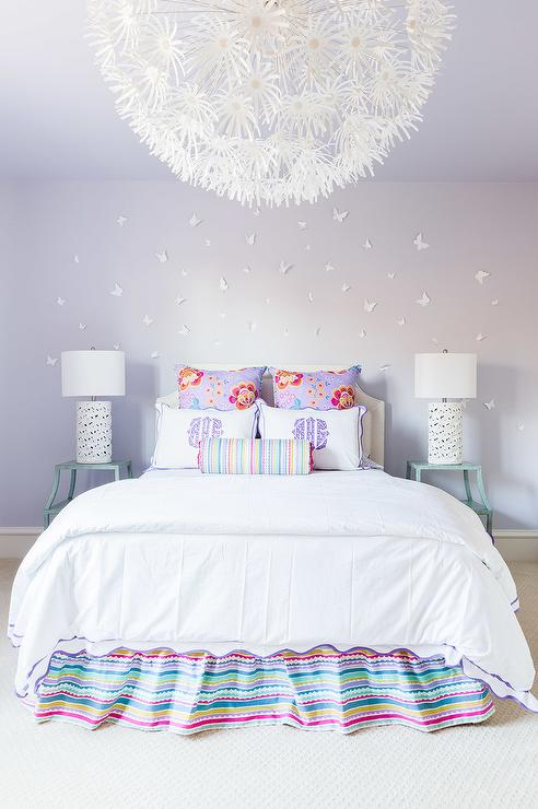Alyssa Rosenheck  Purple and Turquoise Blue Girls Bedroom with Ikea PS  Maskros Pendant Lamp. Rosenheck  Purple and Turquoise Blue Girls Bedroom with Ikea PS