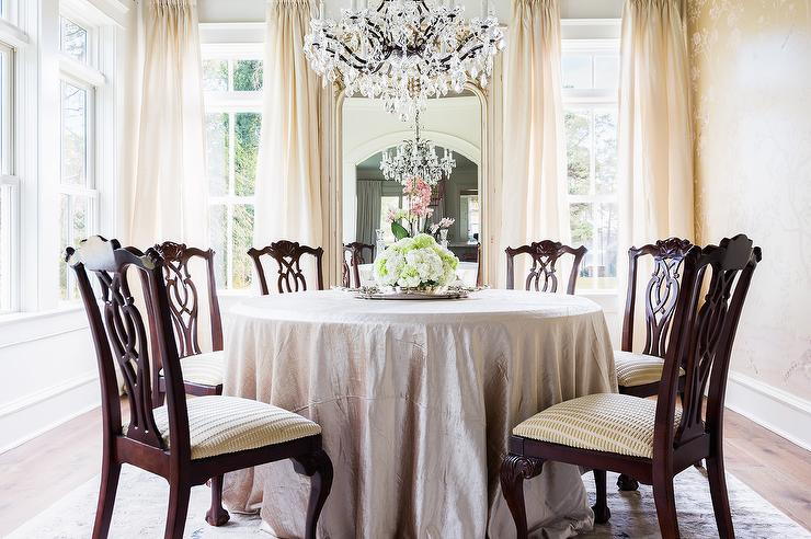 Alyssa Rosenheck: Round Silk Tablecloth Dining Table With Chippendale Chairs