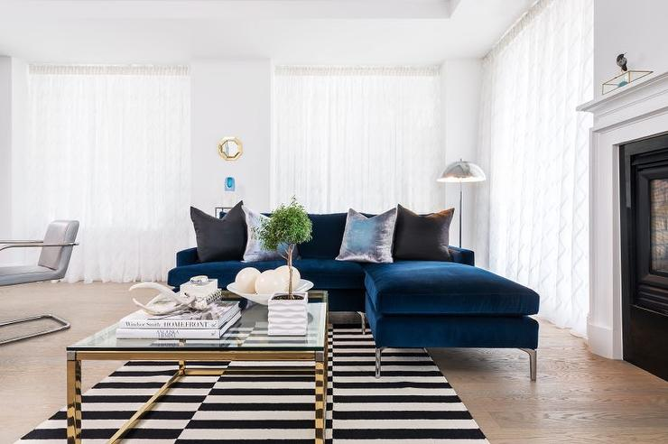 sapphire blue velvet sofa with chaise lounge and black and white striped rug pin it on pinterest view full size