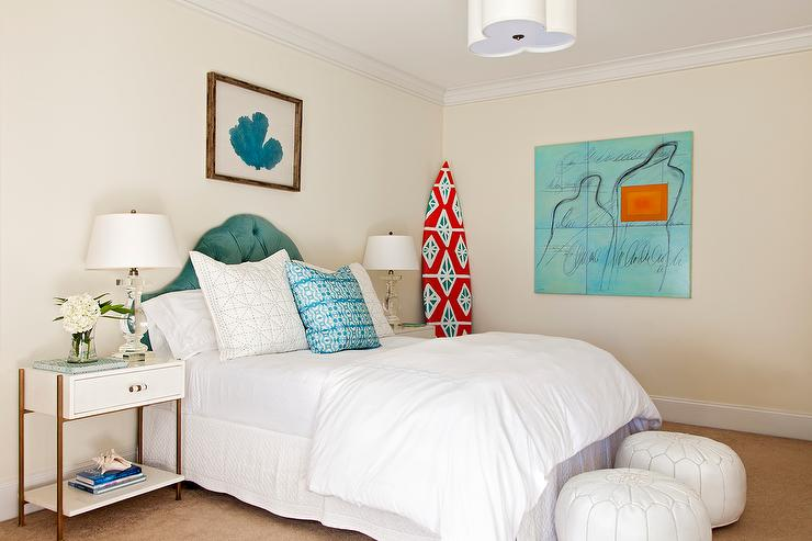 White and Blue Cottage Bedroom with Framed Turquoise Blue Sea Fan ...