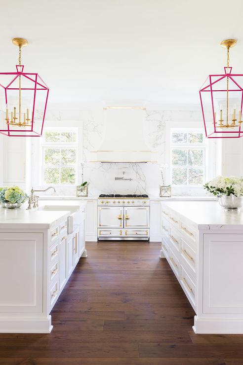 alyssa rosenheck white kitchen island with pink lanterns