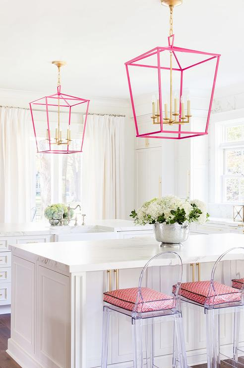 Alyssa Rosenheck: White And Pink Kitchen With Kartell One More Counter  Stools