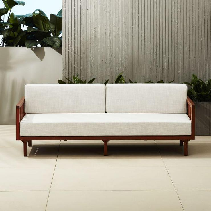 Wooden Arm Off White Upholstered Sofa