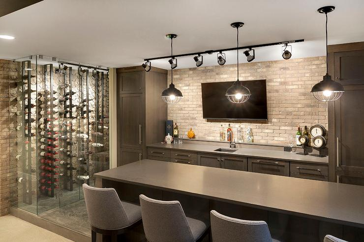 Contemporary Basement Bar With Track Lighting