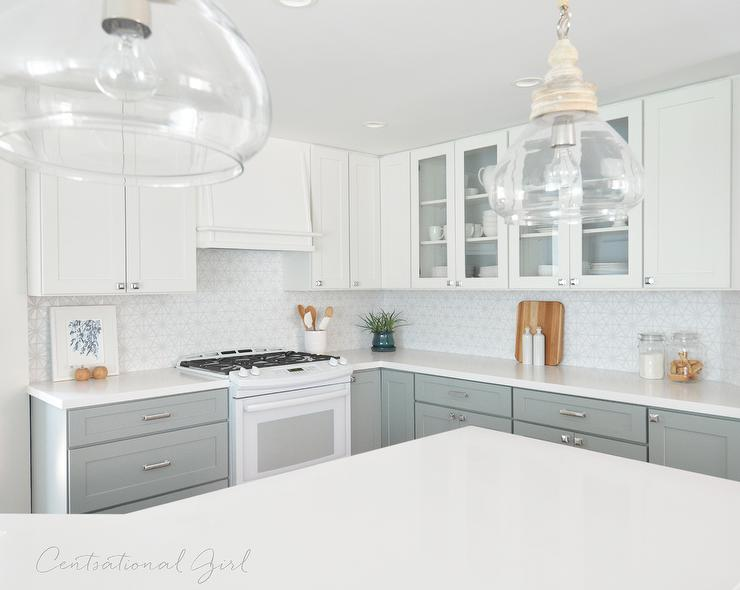 Caesarstone pure white quartz countertops on angled kitchen peninsula transitional kitchen - All about kitchens ...