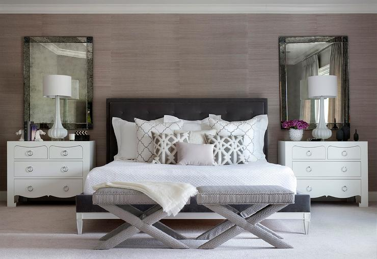 Dark Gray Velvet Tufted Headboard With Regina Andrew
