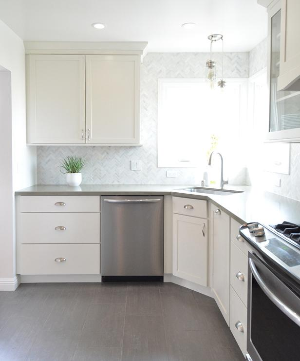 White Kitchen with Gray Plank Porcelain Tile Floor - Transitional ...