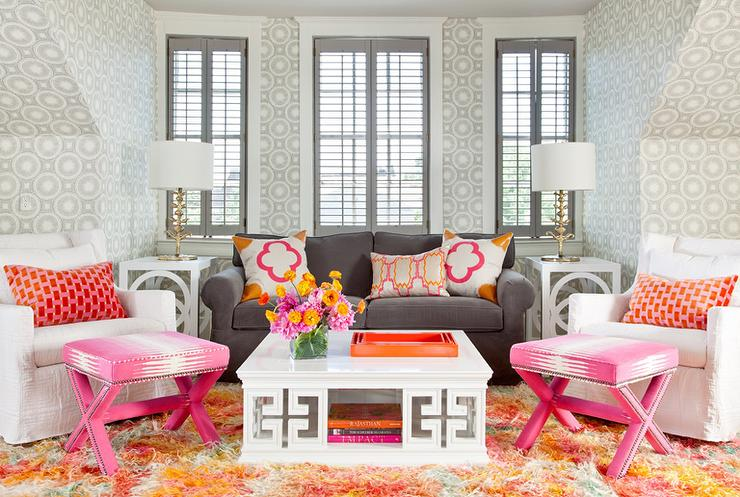 Pink and gray living room with greek key cocktail table Red and grey sofa