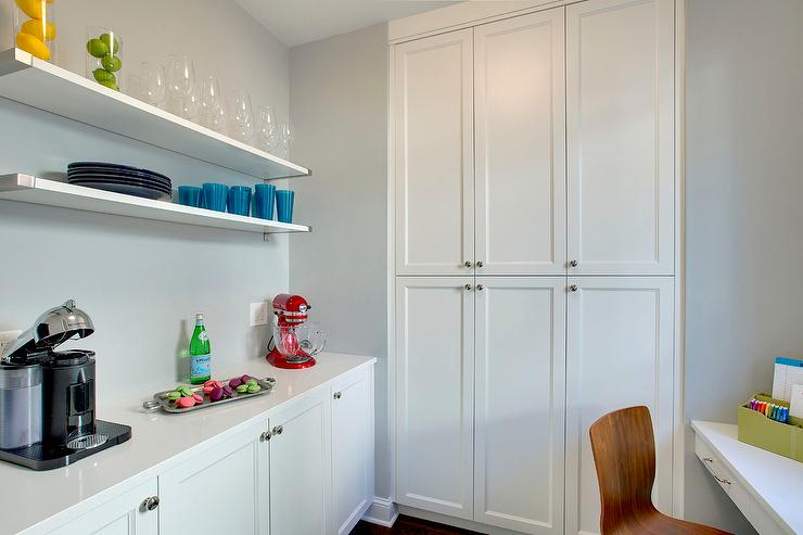 Kitchen Pantry With Built In Floating Desk