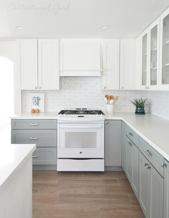 Kitchen with white top cabinets and gray bottom cabinets for Grey and white kitchen cabinets
