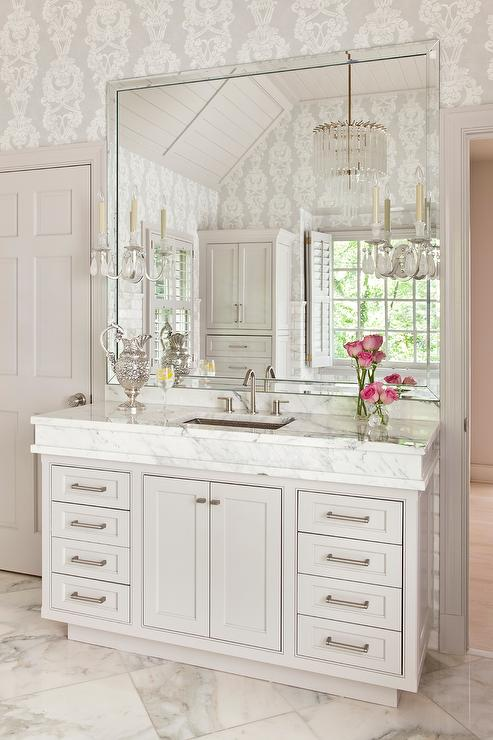 light gray bathroom vanity. Light Gray Bath Vanity With Thick Marble Countertop And Hammered Metal Sink