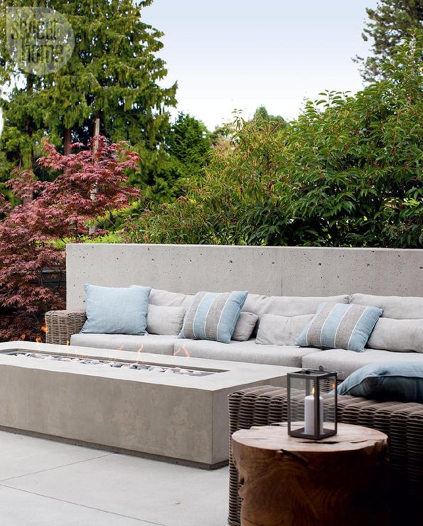 Patio with Concrete Bench and Long Concrete Fire Pit - Patio With Concrete Bench And Long Concrete Fire Pit