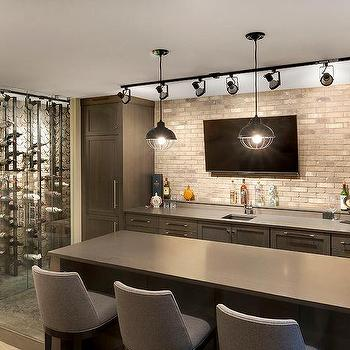 Merveilleux Contemporary Basement Bar With Track Lighting