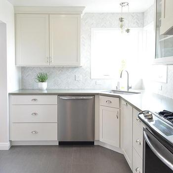 ... Smudge Proof Stainless Steel Appliances. Centsational Girl · White  Kitchen With Gray Plank Porcelain Tile Floor