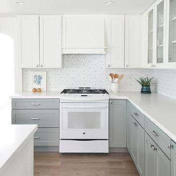 Kitchen With White Top Cabinets And Gray Bottom Cabinets