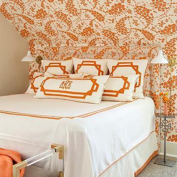 Orange Bedroom With Headboard Matching Wallpaper