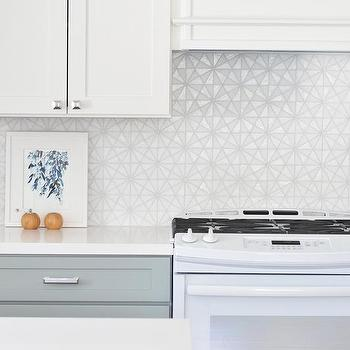 White Iridescent Hexagon Tile Kitchen Backsplash Tiles Design Ideas