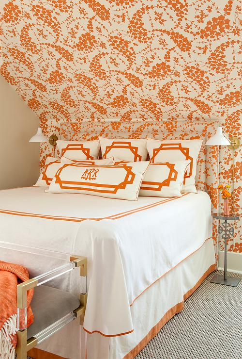 Orange Bedroom With Headboard Matching Wallpaper Contemporary