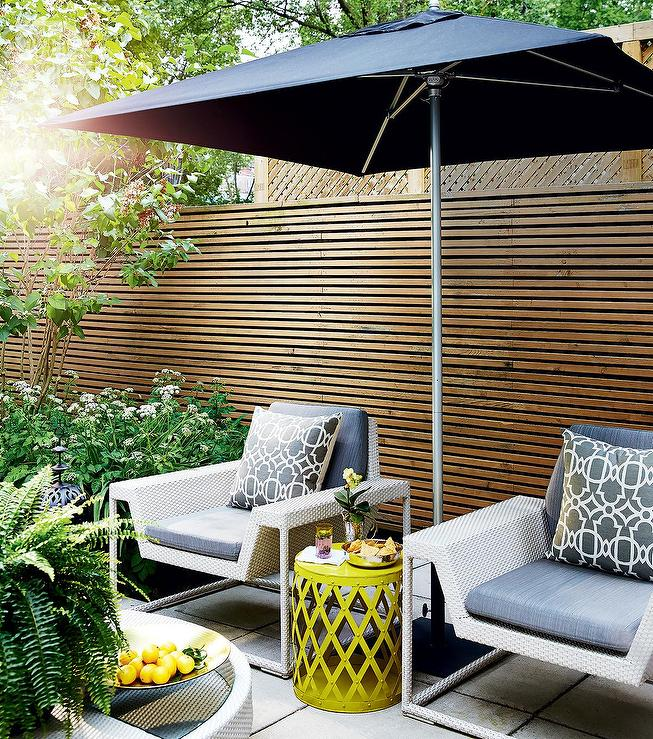 Patio With Tall Cedar Privacy Fence