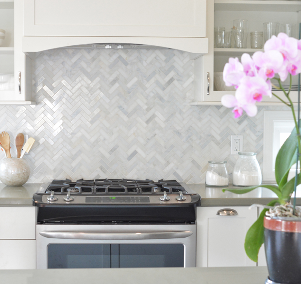 Classic Marble Herringbone Tile Kitchen Backsplash Transitional