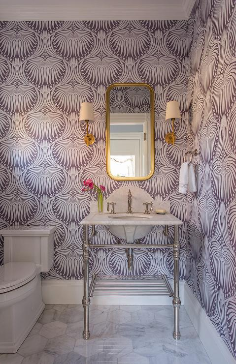 Purple Powder Room With Marble Washstand Contemporary
