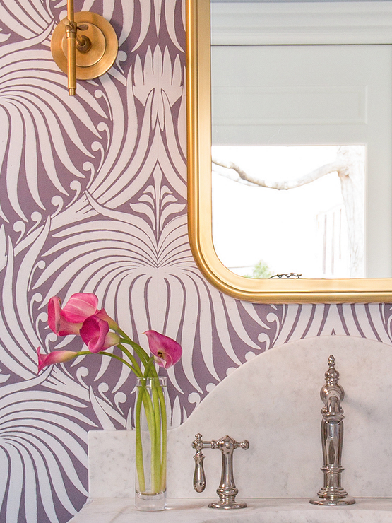 Purple and gold powder room design contemporary bathroom for Purple and gold bathroom ideas