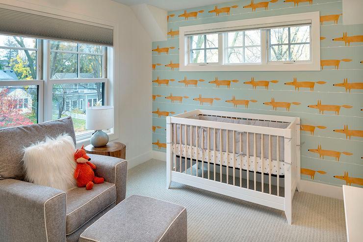 Orange And Gray Boy Nursery With Scion Mr Fox Wallpaper