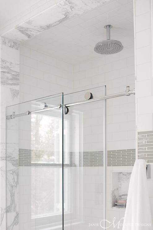 Walk In Shower With Glass Doors On Rail Transitional Bathroom