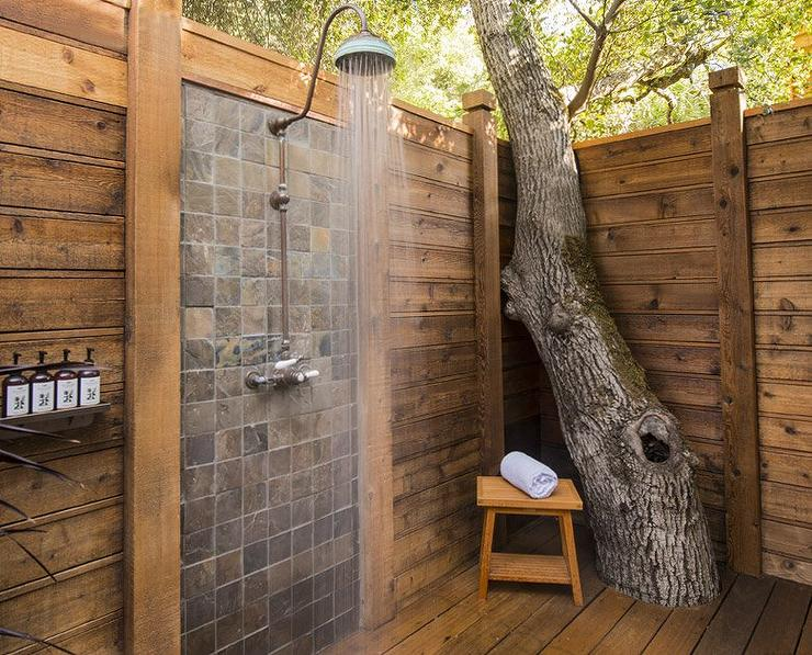 Awesome Outdoor Shower Head Part - 10: Spa Like Outdoor Shower Built Around Tree