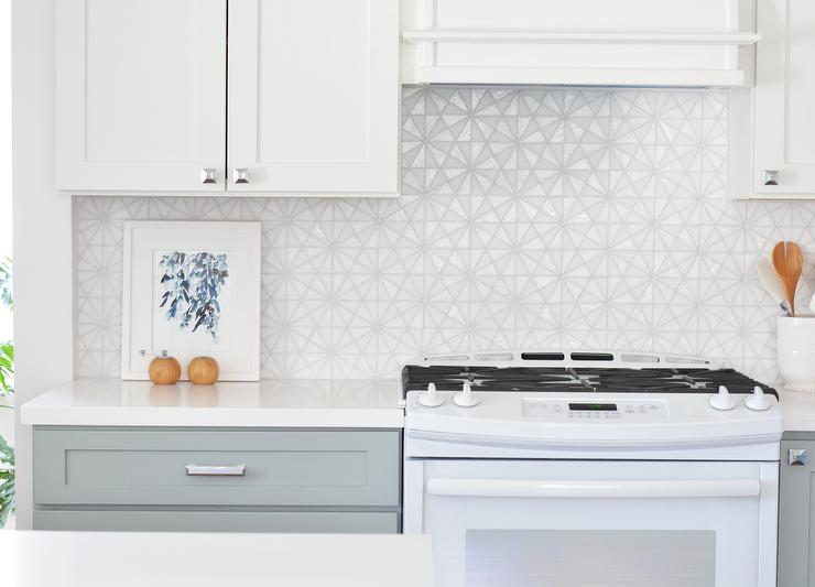 White Iridescent Hexagon Tile Kitchen Backsplash Transitional Kitchen