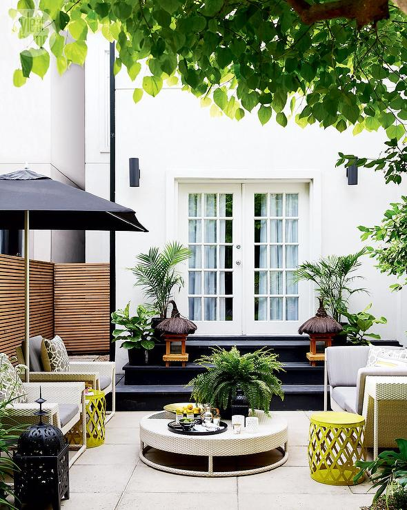 Yellow And Gray Patio Design