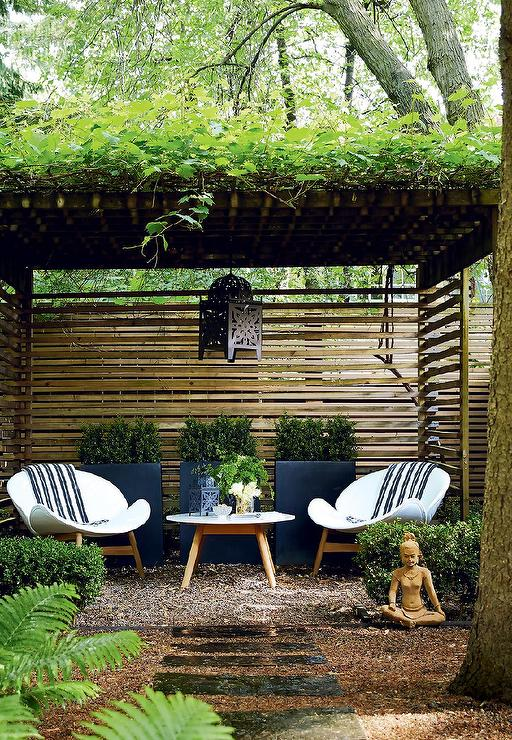 Zen garden with pergola asian garden for Garden sit out designs