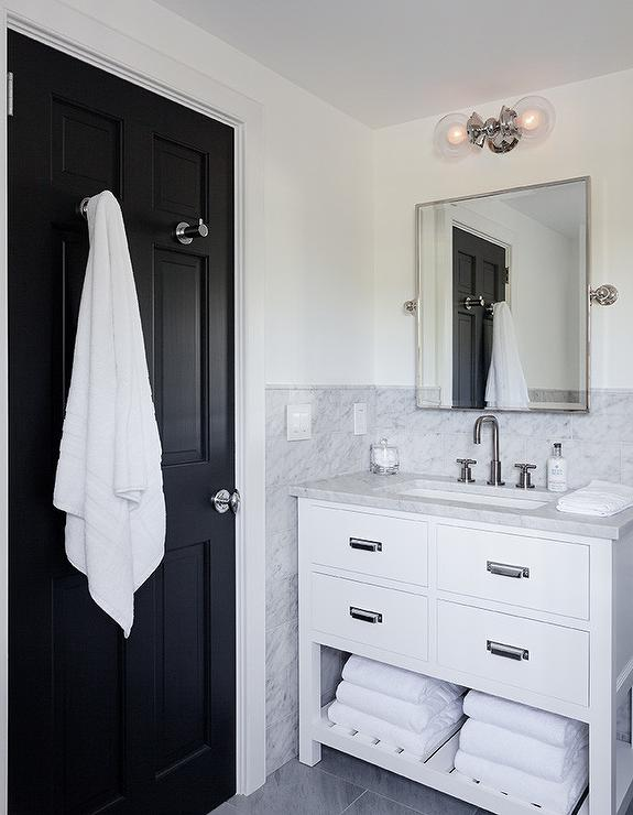 White And Black Bathroom With Restoration Hardware
