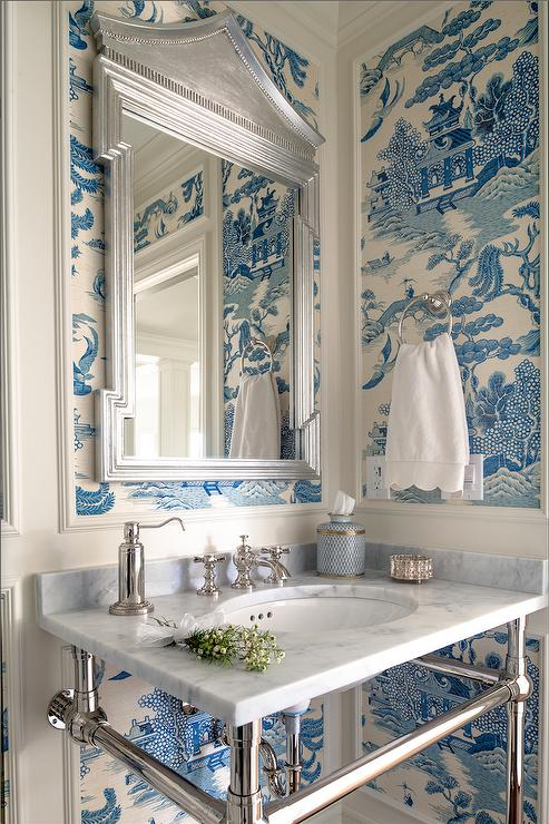 White And Blue Chinoiserie Powder Room With Pagoda Mirror