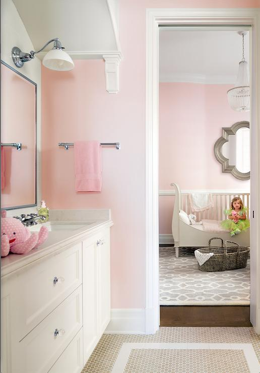 Pink Girl Bathroom With Beige Hex Tile Floor Part 48