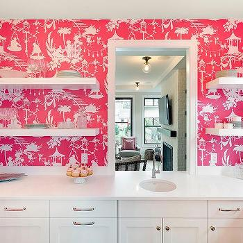 White Kitchen With Pink Thibaut South Seas Wallpaper Lined With Floating  Shelves