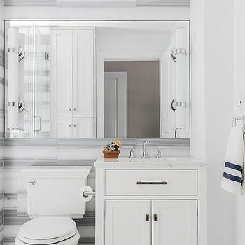 White And Gray Marble Striped Tiles Design Ideas