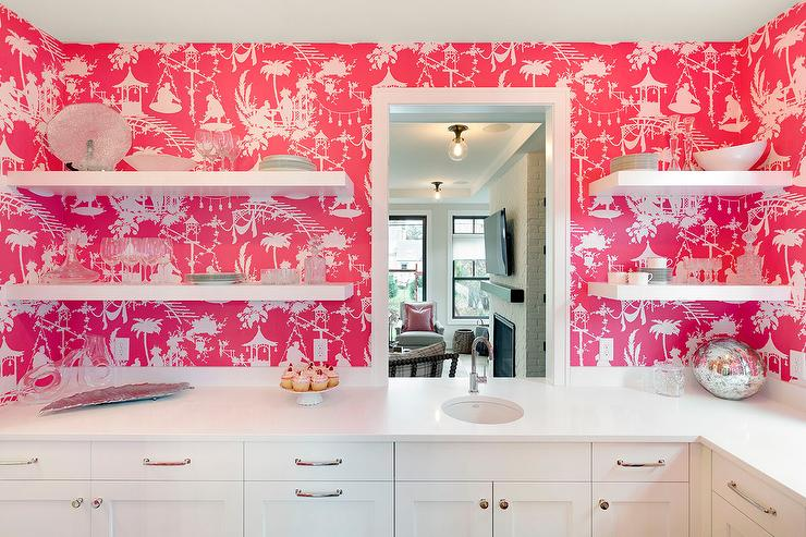 White Kitchen with Pink Thibaut South Seas Wallpaper Lined with ...