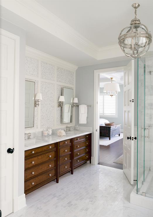White And Gray Master Bathroom With Stained Double