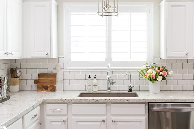 White Granite Kitchen Countertops with White Subway Tile Backsplash & White Granite Kitchen Countertops with White Subway Tile Backsplash ...