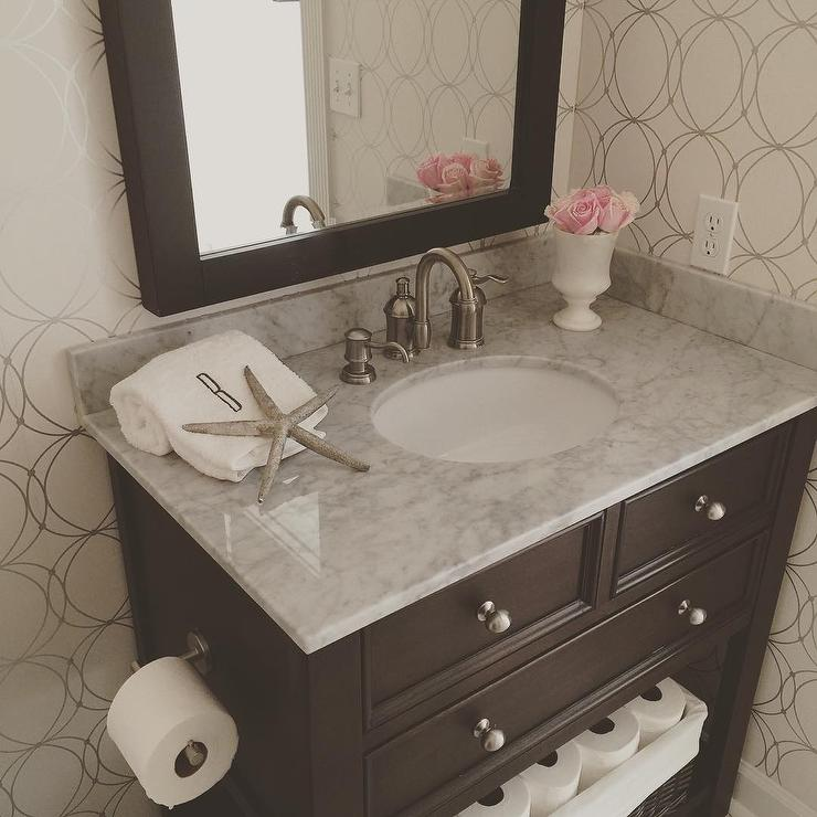 Powder Room with Graham and Brown Darcy Wallpaper and Espresso Single Vanity. Room with Graham and Brown Darcy Wallpaper and Espresso Single Vanity