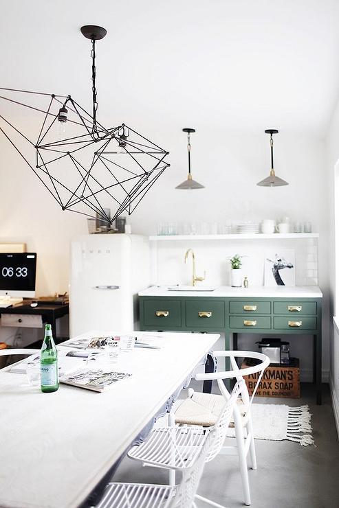 Green Kitchen Washstand with Concrete Floor & Green Kitchen Washstand with Concrete Floor - Contemporary - Kitchen
