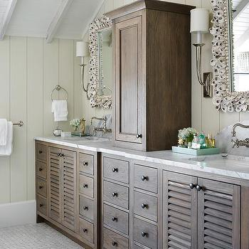 Brown Shutter Double Vanity With Seashell Mirrors And French Deco Horn  Sconces View Full Size. Beach Cottage Bathroom ...